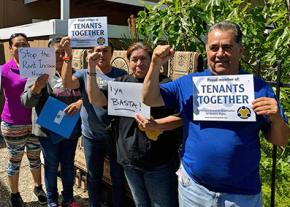 Residents of Concord, California, participate in a Tenants Together protest