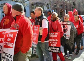 Verizon workers walk the picket line