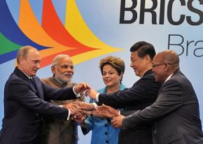 At the 2014 BRICS summit in Brazil: left to right, Russian President Vladimir Putin, Indian Prime Minister Narendra Modi, Brazilian President Dilma Rousseff, Chinese President Xi Jinping and South African President Jacob Zuma