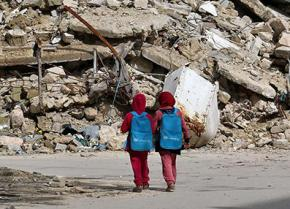 Children walking home from school in Aleppo