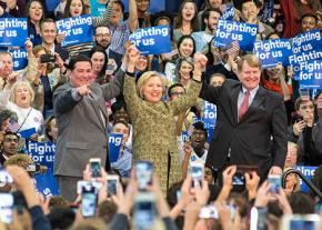 Fellow Democrats share the stage with Hillary Clinton at a campaign rally in Pittsburgh
