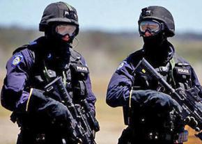 Heavily armed police on patrol in Australia