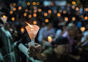 A candlelight vigil in memory of the victims in Orlando