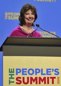 RoseAnn DeMoro of the NNU speaks at the People's Summit