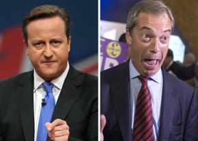 British Prime Minister David Cameron (left) and UKIP leader Nigel Farage