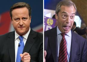 British Prime Minister David Cameron (left) and UKIP leader Nigel Farage