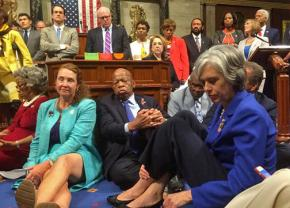 Democratic members of the House sit in to demand a vote on gun control