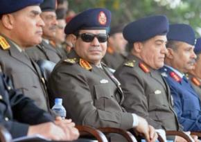 Leaders of the Egyptian regime, including President Abdul-Fattah el-Sisi (wearing sunglasses)