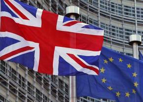 The British flag and European Union flag