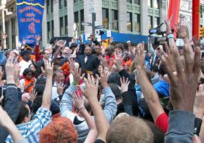 A transit workers speaks at an Occupy Wall Street general assembly in New York
