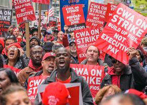 Verizon strikers and their supporters in the streets of New York