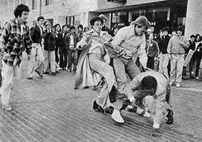 Anti-busing racists attack a Black student in 1976