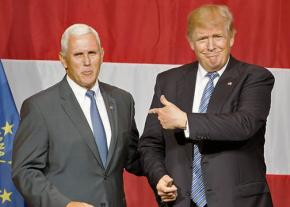 Indiana Gov. Mike Pence (left) with Donald Trump