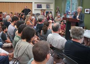 Dr. Jill Stein speaks to a packed audience in Burlington, Vermont