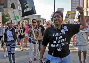 Opponents of police violence on the march in Madison
