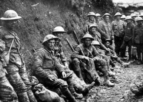 Soldiers in the trenches during the First World War