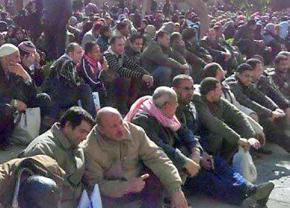 Shipyard workers hold a sit-in outside a government ministry in Alexandria