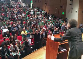 Cornel West speaks to a session of the Green Party convention