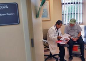 A doctor discusses health issues with a patient