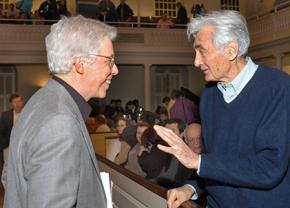 James Green (left) speaks with the people's historian Howard Zinn at an event in Boston in 2006