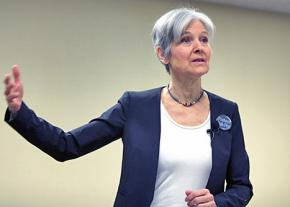 The Green Party's Jill Stein speaks to a campaign meeting