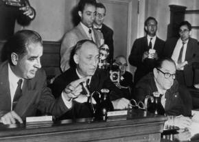 Sen. Joseph McCarthy (left) interrogating a witness during hearings