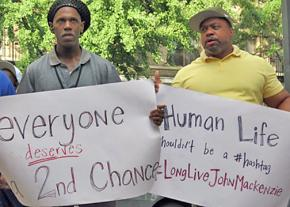 Protesters gathered outside the Lincoln Correctional Facility in Harlem to remember John Mackenzie