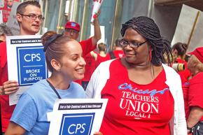 """CTU members protest against a school system that's """"broke on purpose"""""""