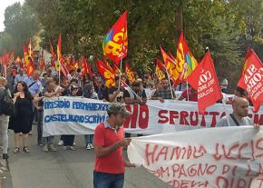 Thousands of Italian workers descended on Piacenza to protest a killing on the picket line