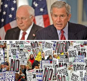Above, left to right: Dick Cheney and George W. Bush; below, demonstrating against the invasion of Iraq