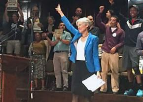 Green Party presidential candidate Jill Stein greets supporters in Chicago