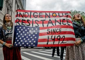 Native American protesters at the People's Climate March in New York City