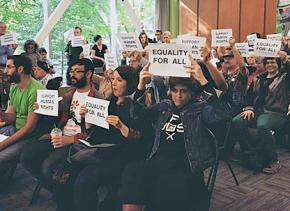 Palestine solidarity activists at Portland State University build support for divestment from Israeli apartheid