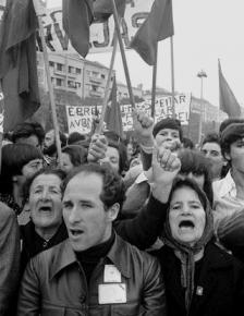 A celebration rally in Portugal's capital of Lisbon during the revolution of 1974-75