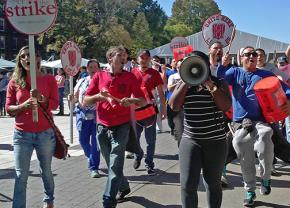 UNITE HERE Local 26 members on the march at Harvard University