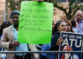 Union and Lyft drivers rally for a union in New York City
