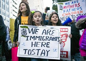 Marching in New York City to oppose Trump's immigrant-bashing