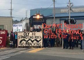 Protesters in Olympia, Washington, blockade a train bound for North Dakota with fracking materials