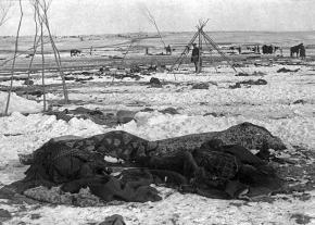 The aftermath of the massacre at Wounded Knee in 1890