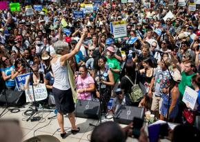 Jill Stein speaks to a crowd filled with many Bernie Sanders supporters outside the Democratic National Convention in Philadelphia