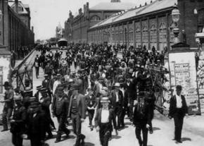 Rail workers walk off the job during the 1894 Pullman strike