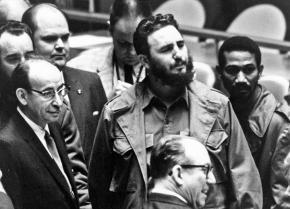 Fidel Castro (center) walks into the UN General Assembly in 1960