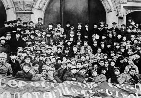 Youth activists pose outside an organizing conference after the Russian Revolution