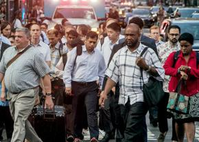 The crowded streets of New York City