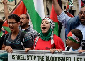 Marching in Washington, D.C., for Palestinian rights