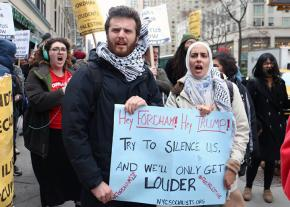 Activists take to the streets to defend free speech and Palestinian rights at Fordham University