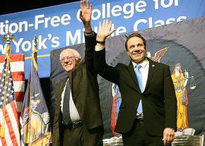 Senator Bernie Sanders and New York Governor Andrew Cuomo take the stage together at La Guardia Community College in New York City