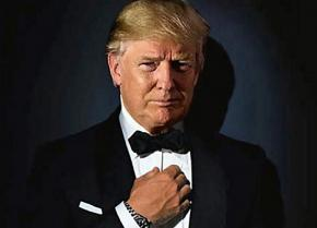 Trump models a high-end tuxedo
