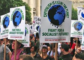 Socialists on the march for climate justice in New York City
