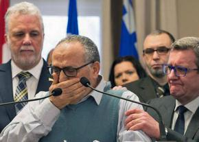 Mohamed Labibi, president of the Quebec Islamic Cultural Center, stricken with grief during a press conference
